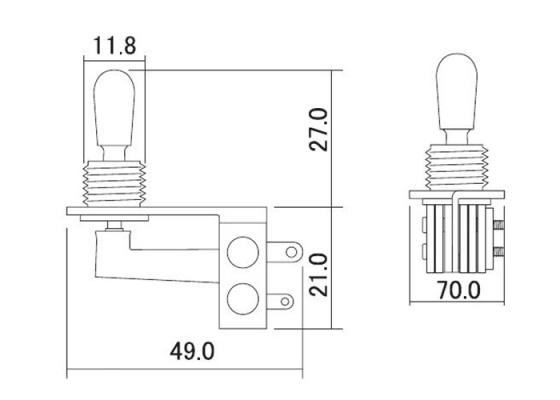 3 way hosco toggle switch  right angle  chrome