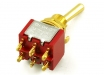 Mini Toggle Switch • 3-Way • On/On/On • Gold