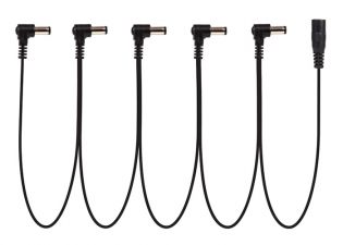 Power-All® Cable for Pedal Power Supplies • Daisy Chain • 5 Lead • Right Angle