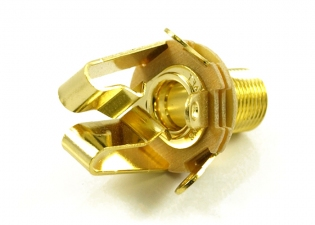 Switchcraft® Output Jack Socket • 3/8'' Long Thread • Stereo • Gold