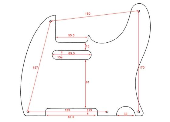 Telecaster Guitar Pickguard 5 Hole Black Thin Left Handed